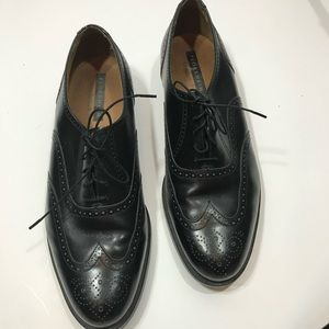 FLORSHEIM black leather wingtip oxford shoes 13